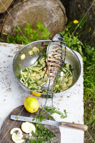 Stuffed trout and a potato and herb salad