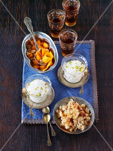 Pumpkin in syrup, halva and almond milk pudding (Christmas desserts from Turkey)