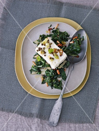 Fried chard with sheep's cheese and pine nuts