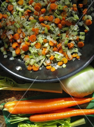 Mirepoix with carrots and celery