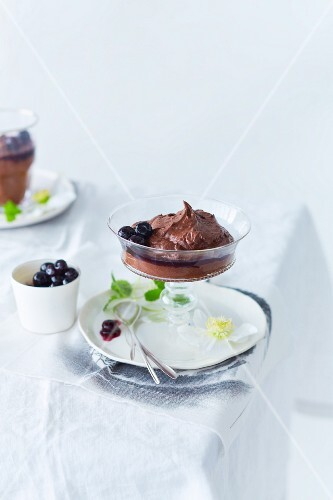 Chocolate mousse with blueberry sauce for Christmas