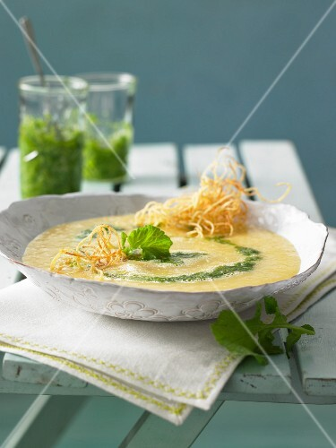 Potato soup with pesto