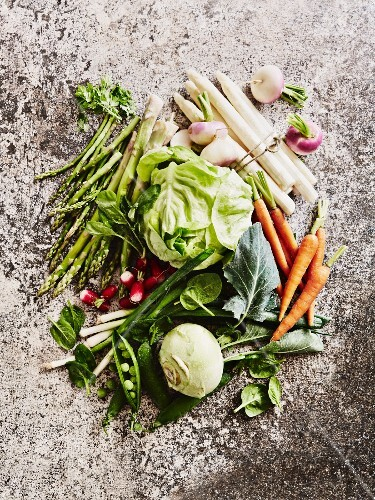An arrangement of spring vegetables