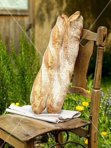 Two Milan baguettes on a wooden chair in a garden