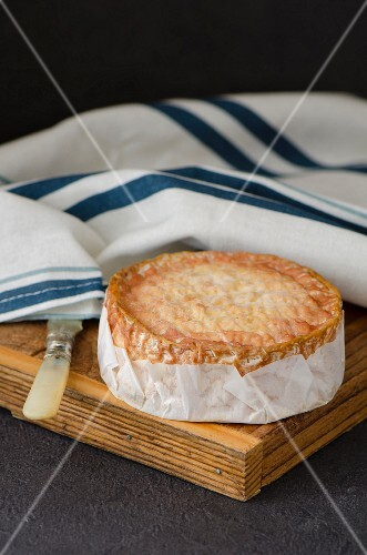 Epoisses cheese from Burgundy, France, with a cheese knife