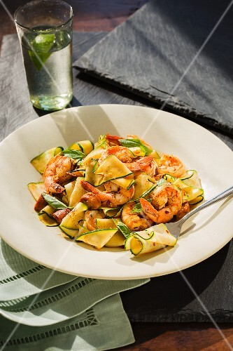 Courgette pasta with prawns, chorizo and saffron