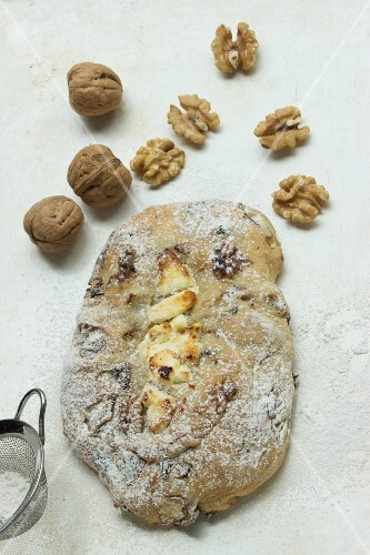 Ciabatta bread with cheese and walnuts