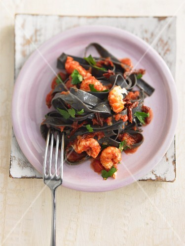 Black pasta with crayfish