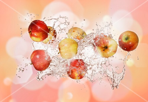 Apples with a splash of water