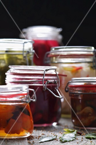 Sliced Pickles and Beets in Mason Jars