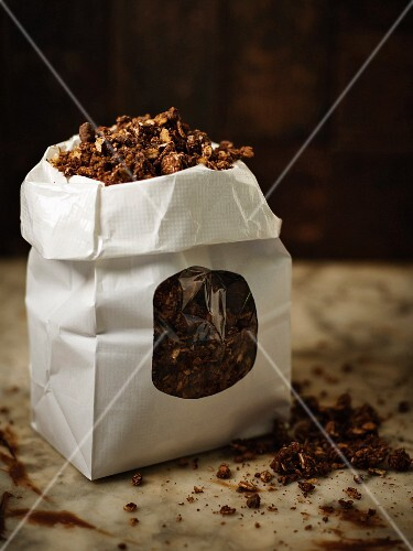 A bag of chocolate muesli