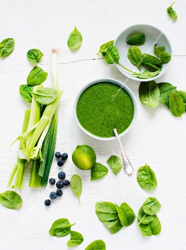 Fresh spinach soup surrounded by celery, spring onions and blueberries