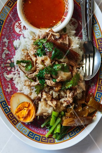 Khao kha moo (pork on a bed of rice with hard-boiled eggs, Thailand)