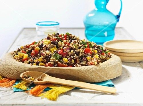 Quinoa salad with peppers, sweet corn and beans (Bolivia)