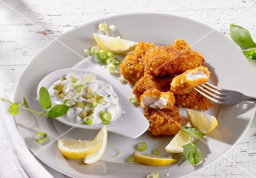 Popcorn Grouper Nuggets with Dipping Sauce; Take Out Box