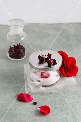 Rose sugar and dried rose petals