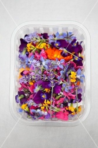 Various edible flowers in a plastic punnet (see above)
