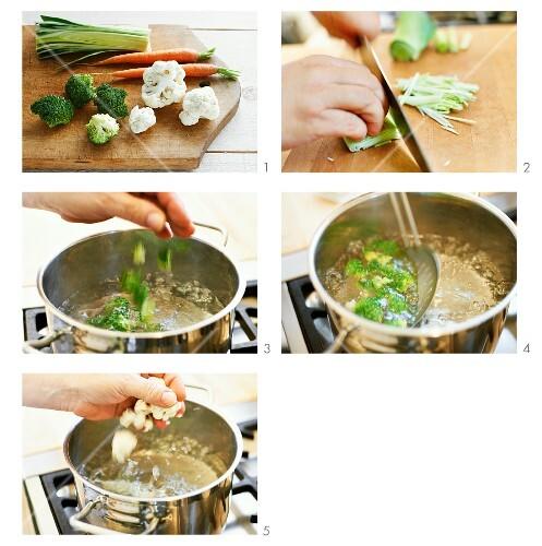 Vegetables being blanched for super garnishes