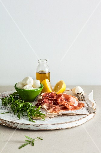 Ingredients for salad with Prosciutto and bocconcini mozzarella