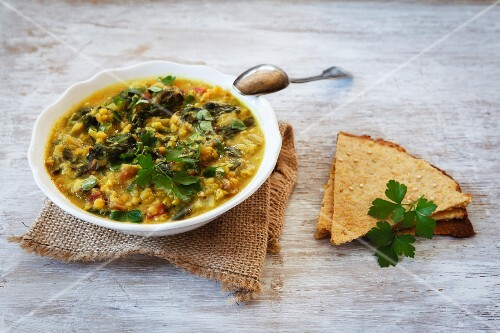 Lentil curry with chard and unleavened bread