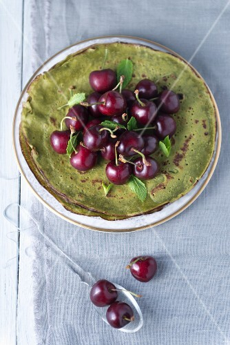 Matcha crepes with cherries