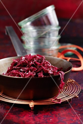 A jar of red cabbage