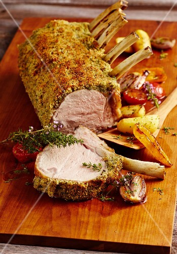 A crown of veal with a herb crust