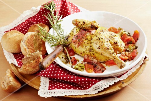Pollo alla Romana (herb chicken with bacon and tomatoes, Italy)