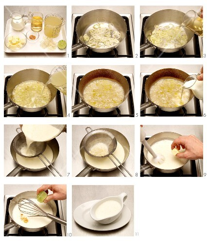 Cream sauce being made