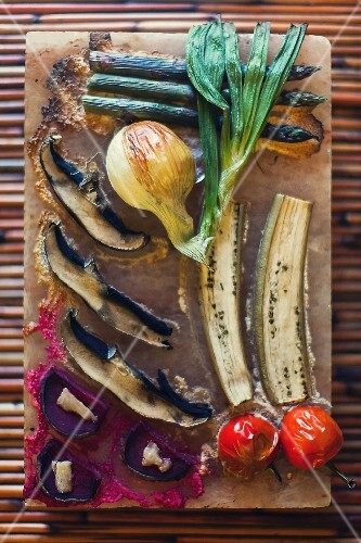 Vegetable grilled on a salt block