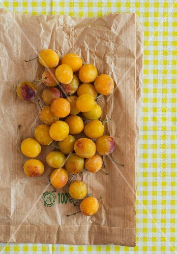 Fresh yellow plums on a paper bag (seen from above)
