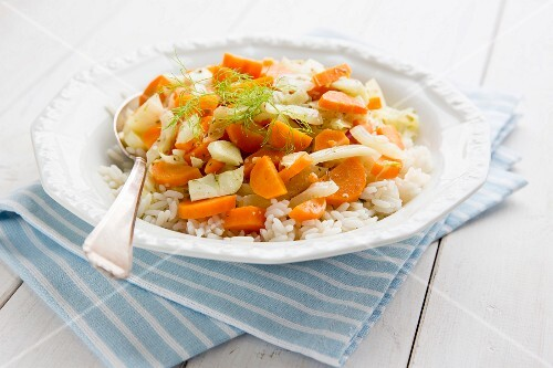 A fennel and carrot medley on a bed of rice