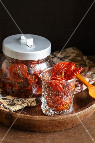 A jar of dried tomatoes