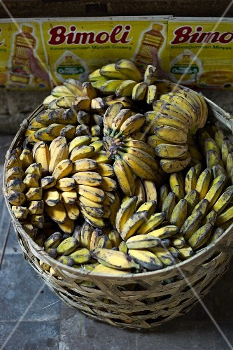 Bananas in a basket at a market in Bali