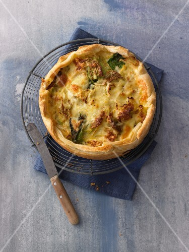 Savoy cabbage quiche on a wire rack