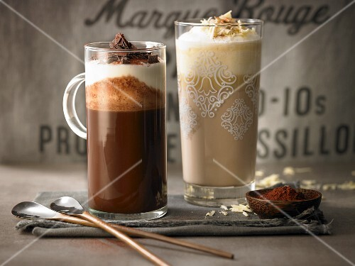 White and dark hot chocolate with Baileys