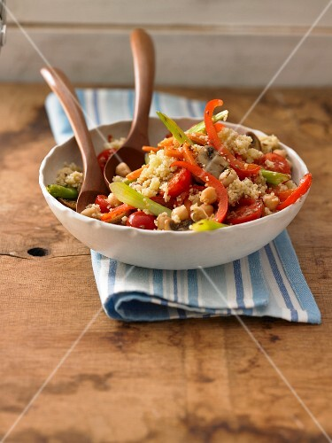 Fitness salad with vegetables, millet and chickpeas