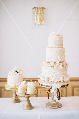 A wedding cake on a restaurant table