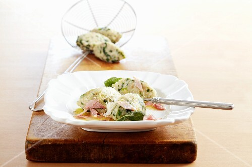 Roman spinach dumplings with sage and ham, Italy