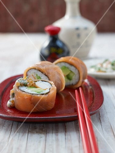 California rolls with salmon and surimi