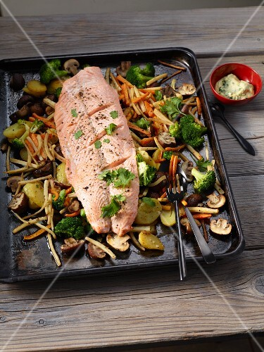 Salmon with broccoli, potatoes, carrots, root vegetables and mushrooms baked on a tray