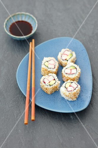 Sushi with surimi and avocado