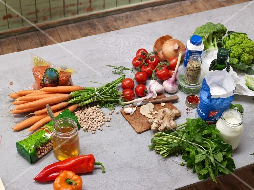 Various ingredients for vegetarian dishes