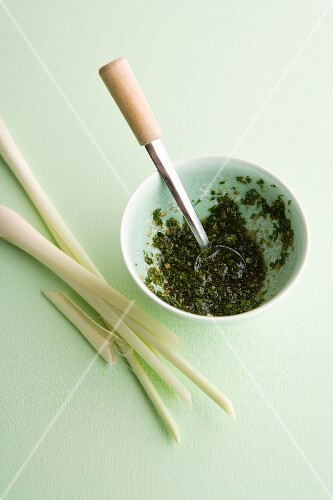 Marinade made with lemongrass, honey and fresh coriander