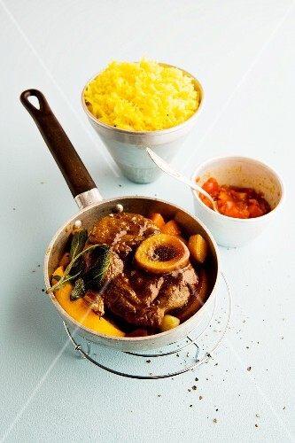 Braised orange veal knuckle with chermoula and yellow basmati rice