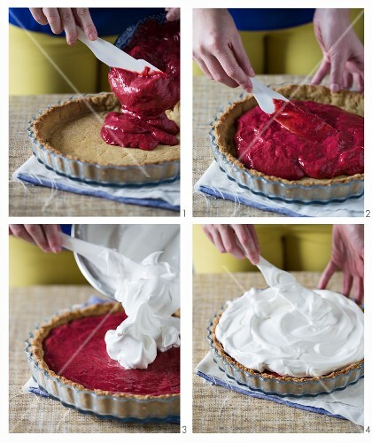 Raspberry-meringue cake being made