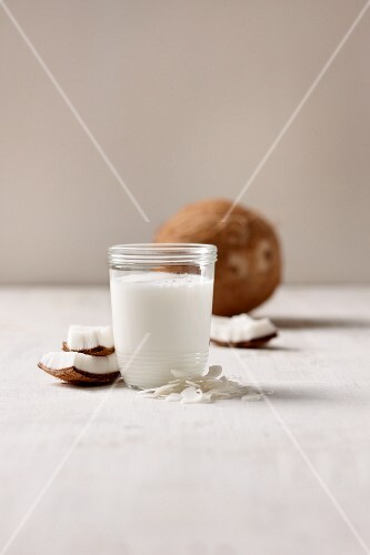 A glass of vegan coconut milk