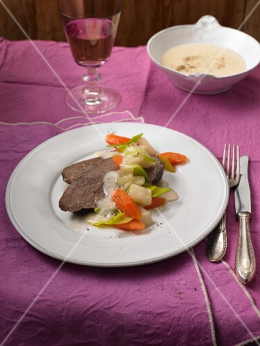 Prime boiled beef with vegetables and horseradish sauce