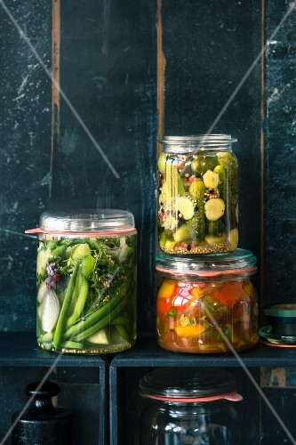 Preserved beans and fennel, ginger gherkins and peperonata