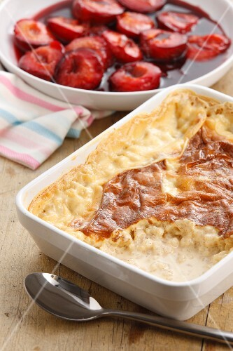 Sweet rice pudding with plum compote